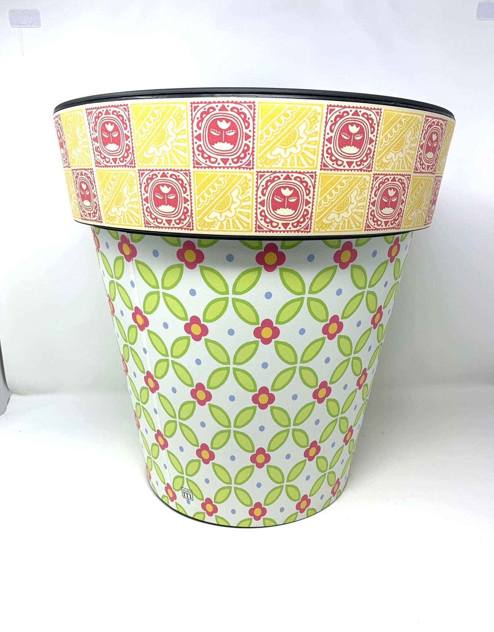 "Art Planter Medium 15"" Pink & Green Lattice"