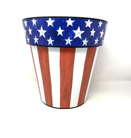 "Studio M Art Planter Small 12"" Stars and Stripes Forever"