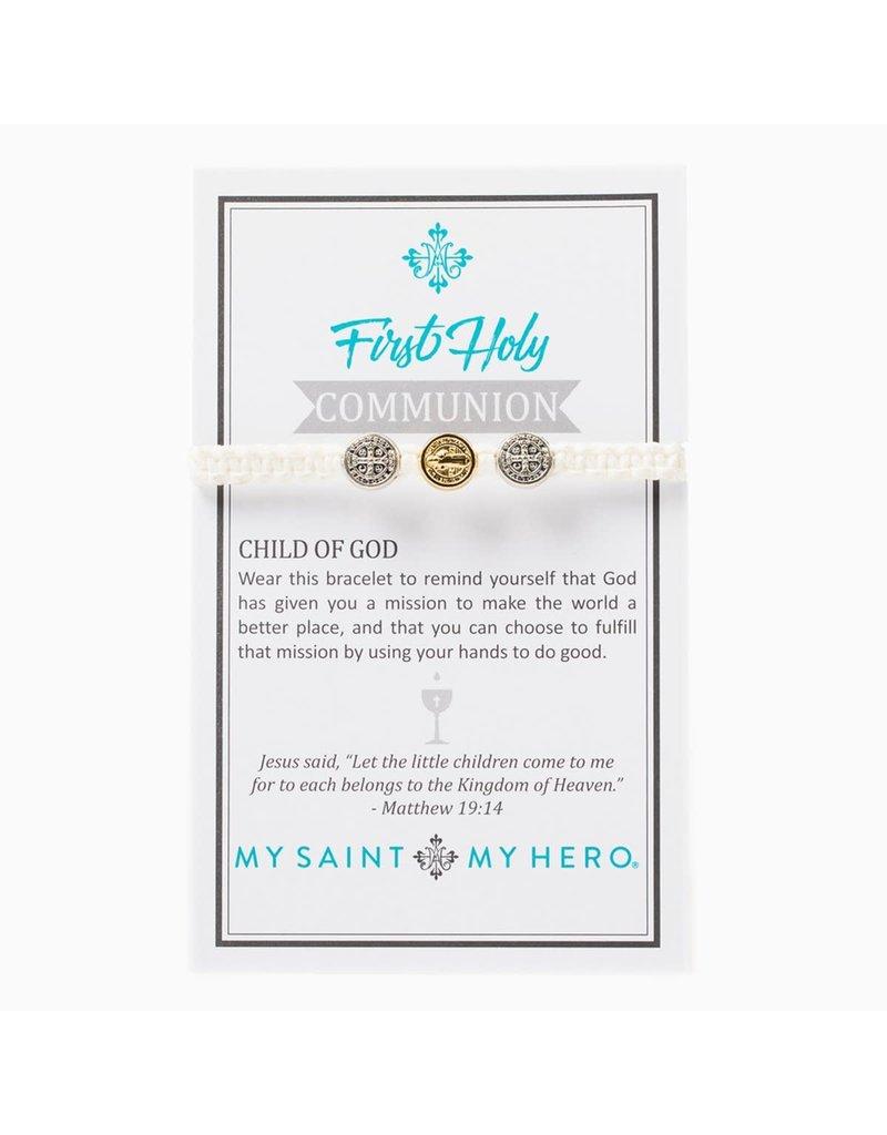 My Saint My Hero Kid's First Communion Bracelet Mixed/White