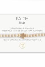 Lenny & Eva Faith Over Fear Stretch Bracelet White/Gold