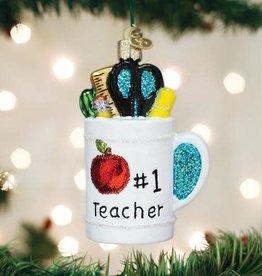 Old World Christmas Ornament Best Teacher Mug