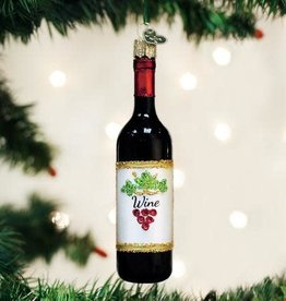 Old World Christmas Ornament Red Wine Bottle