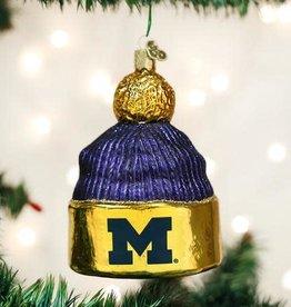 Old World Christmas Ornament University of Michigan Beanie