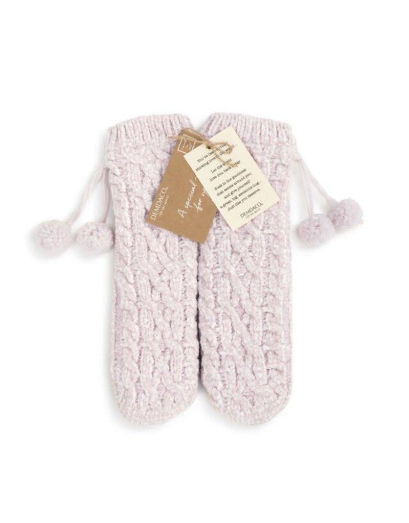 Demdaco Chenille Slipper Socks - Blush