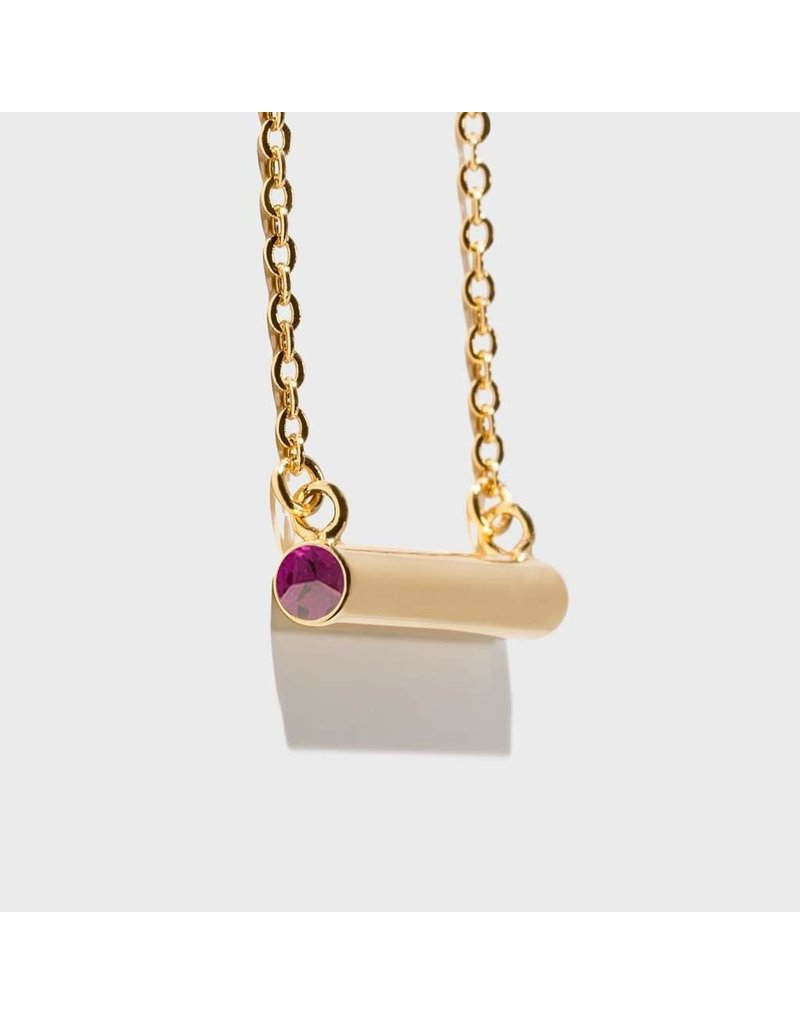 Birthstone Necklace - February/Gold
