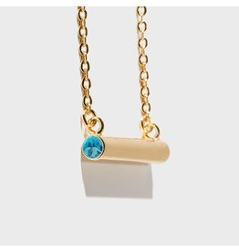 Birthstone Necklace - March/Gold