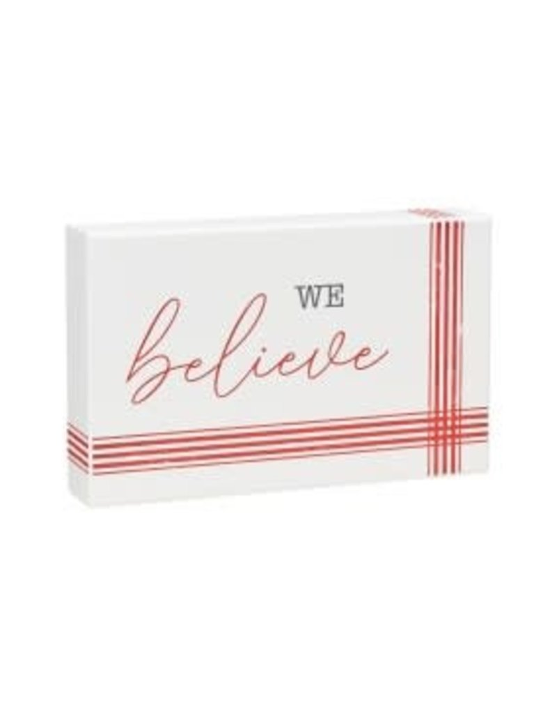 Holiday Box Sign Striped Believe