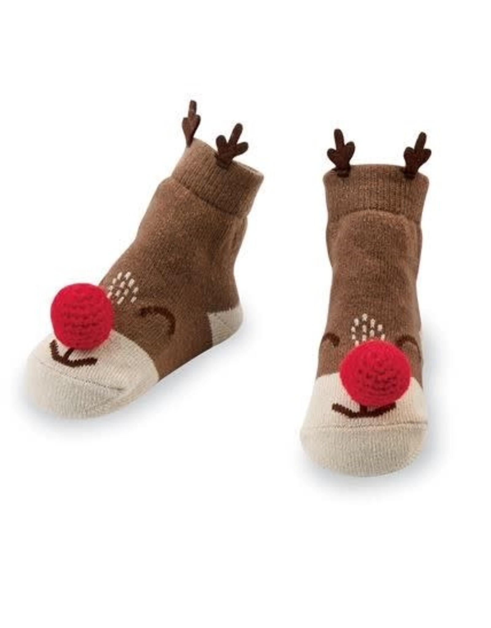 Holiday Reindeer Rattle Toe Socks