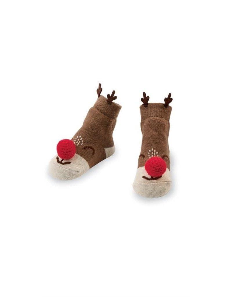 Mud Pie Holiday Reindeer Rattle Toe Socks