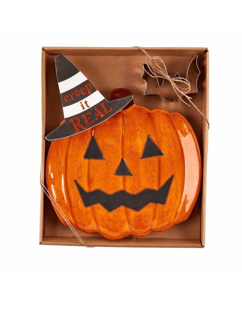 Mud Pie Halloween Pumpkin Cookie Plate Set