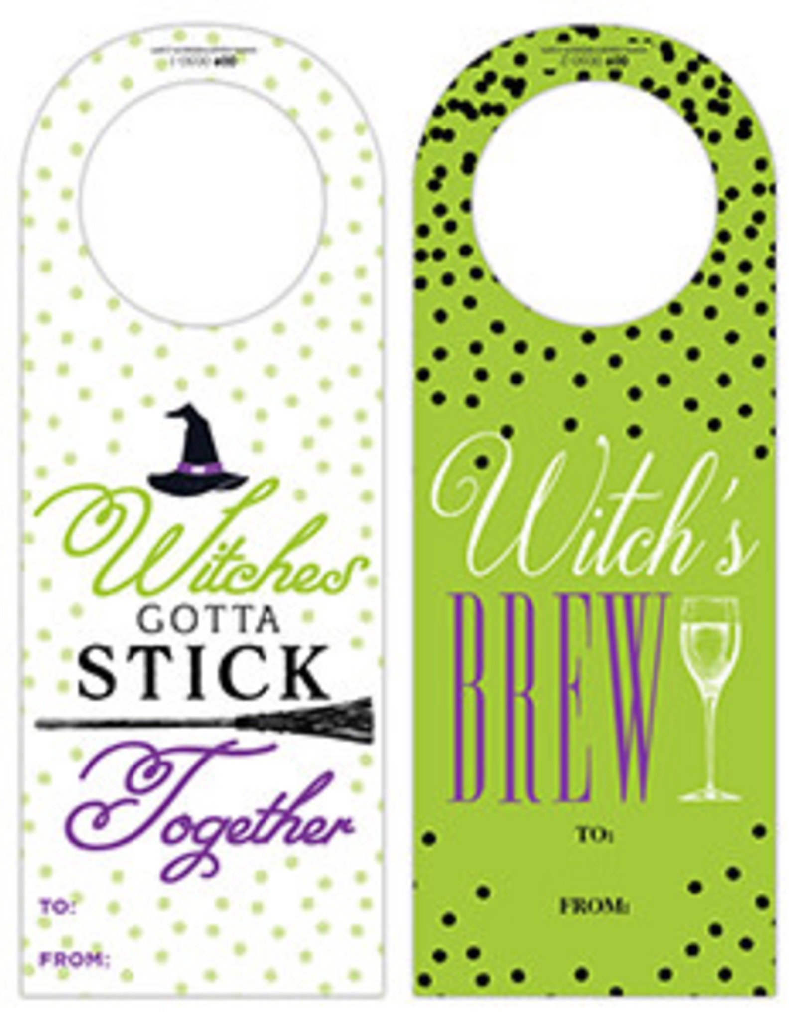 Roseanne Beck Halloween Wine Tag Witches Gotta Stick Together