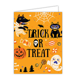Folded Greeting Card Halloween Trick or Treat Icons