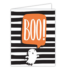 Roseanne Beck Folded Greeting Card Halloween BOO With Ghost