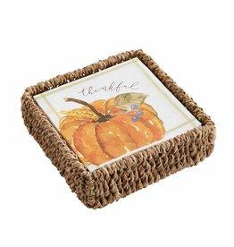 Thanksgiving Pumpkin Napkins in a Basket