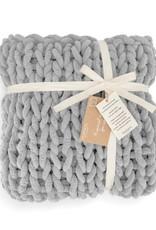 Chunky Knit Blanket Gray