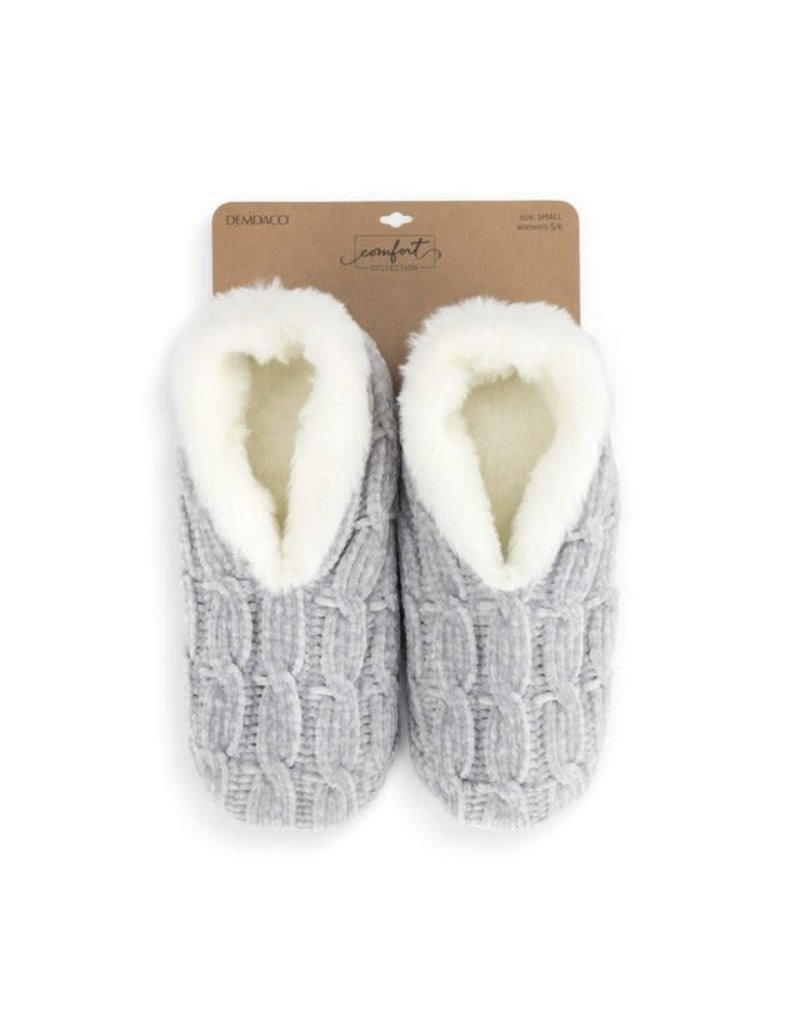 Chenille Slippers Gray Small