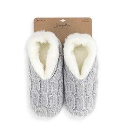 Demdaco Chenille Slippers Gray Medium