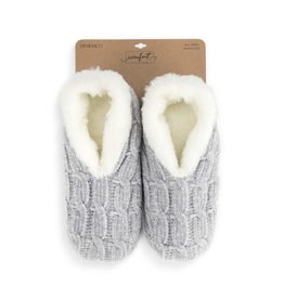 Demdaco Chenille Slippers Gray Large