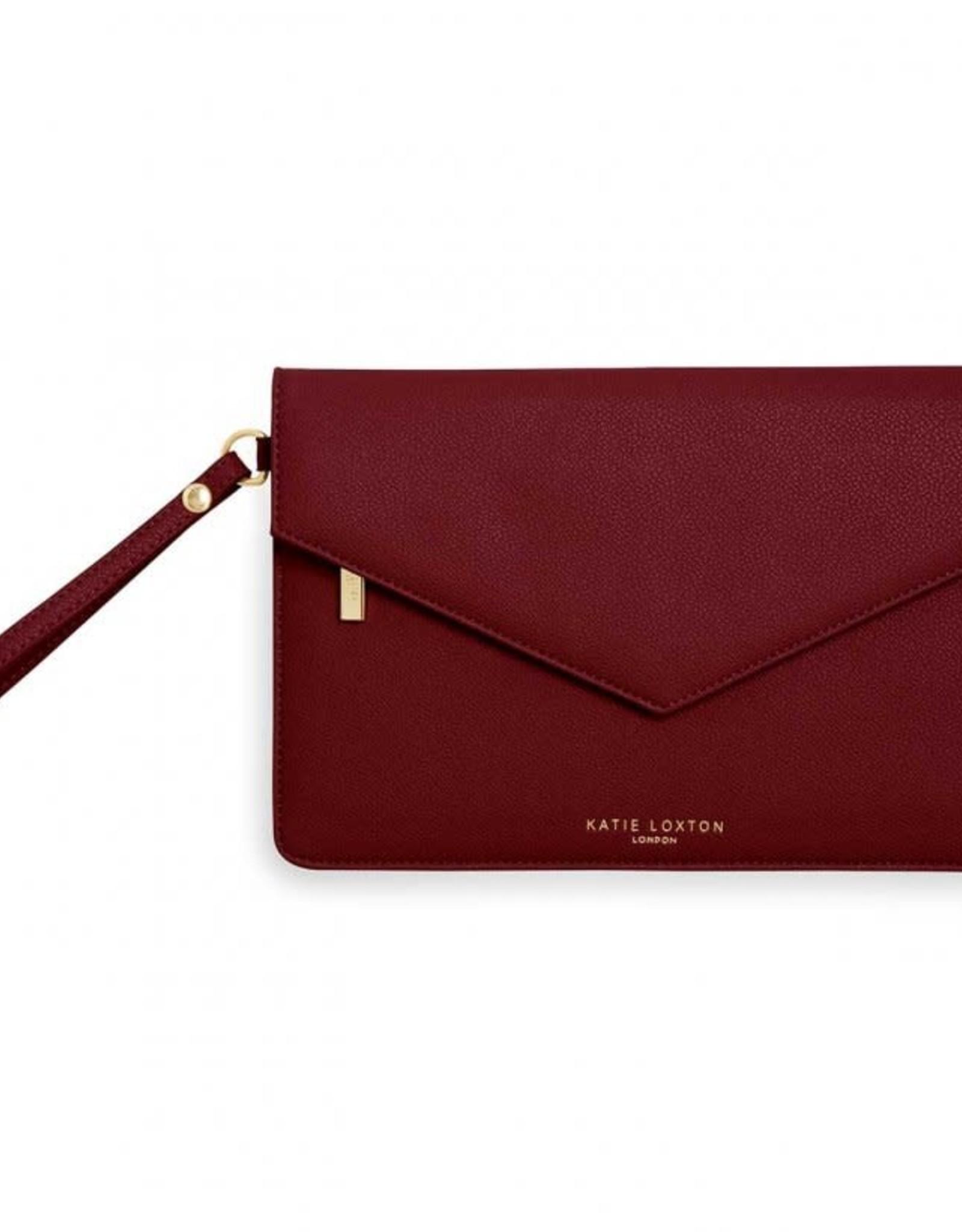 Katie Loxton Esme Envelope Clutch Follow Your Heart Burgundy