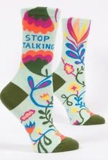 Blue Q Blue Q Women's Crew Socks (More!) Stop Talking