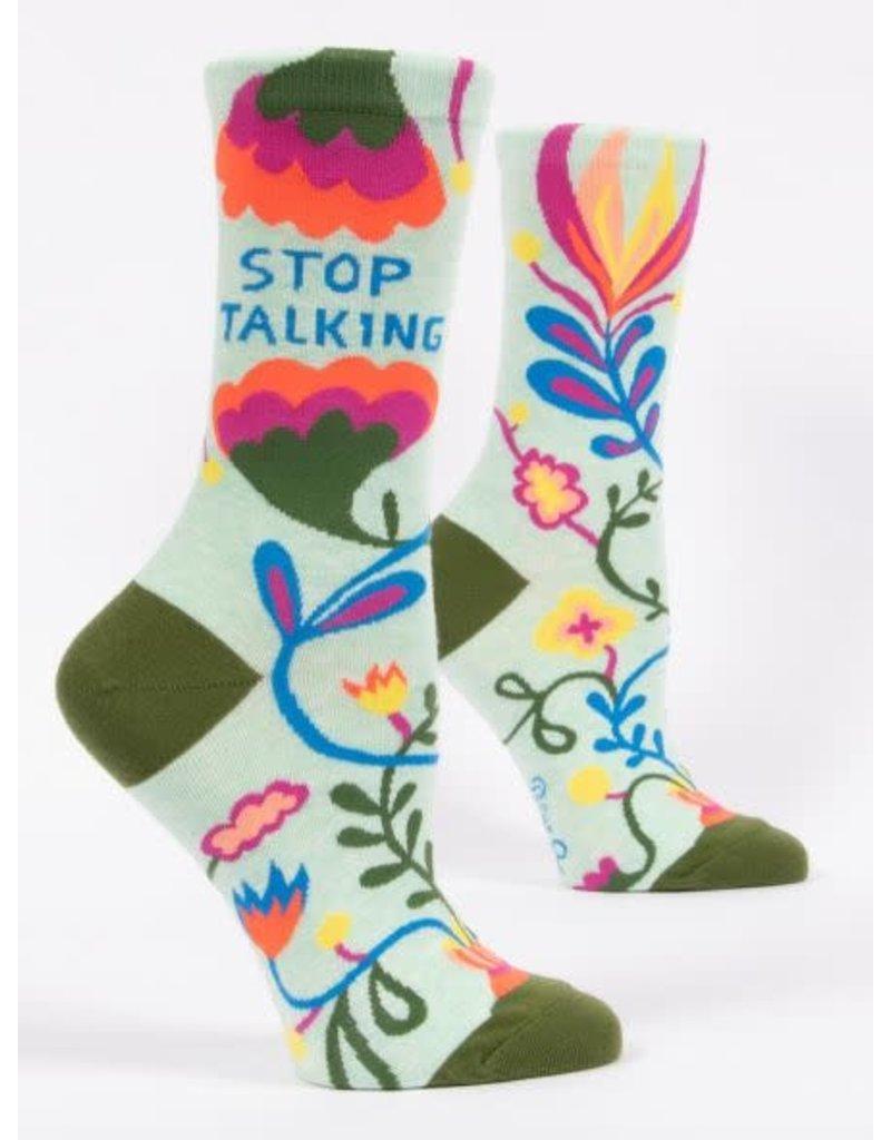 Blue Q Blue Q Women's Crew Socks Stop Talking