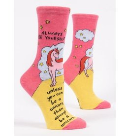 Blue Q Blue Q Women's Crew Socks Always Be a Unicorn
