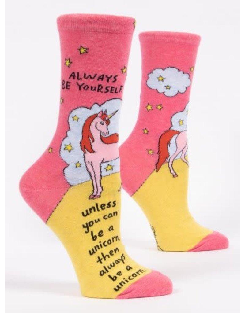 Blue Q Blue Q Women's Crew Socks Always Be a Unicorn