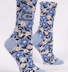Blue Q Blue Q Women's Crew Socks Bitch I AM Relaxed