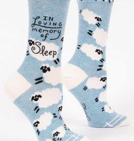 Sidewalk Sale Blue Q Women's Crew Socks (More!) In Loving Memory of Sleep
