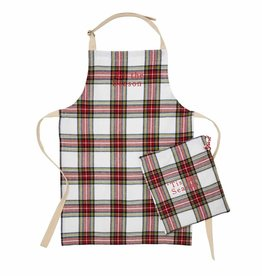 Holiday Apron in a Bag White Tartan