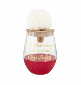 Mud Pie Holiday Glitter Wine Glass Dreaming Red