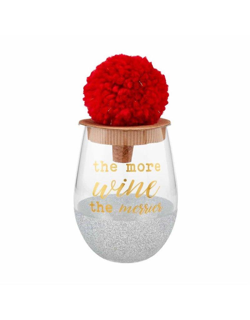 Mud Pie Holiday Glitter Wine Glass Merrier Silver