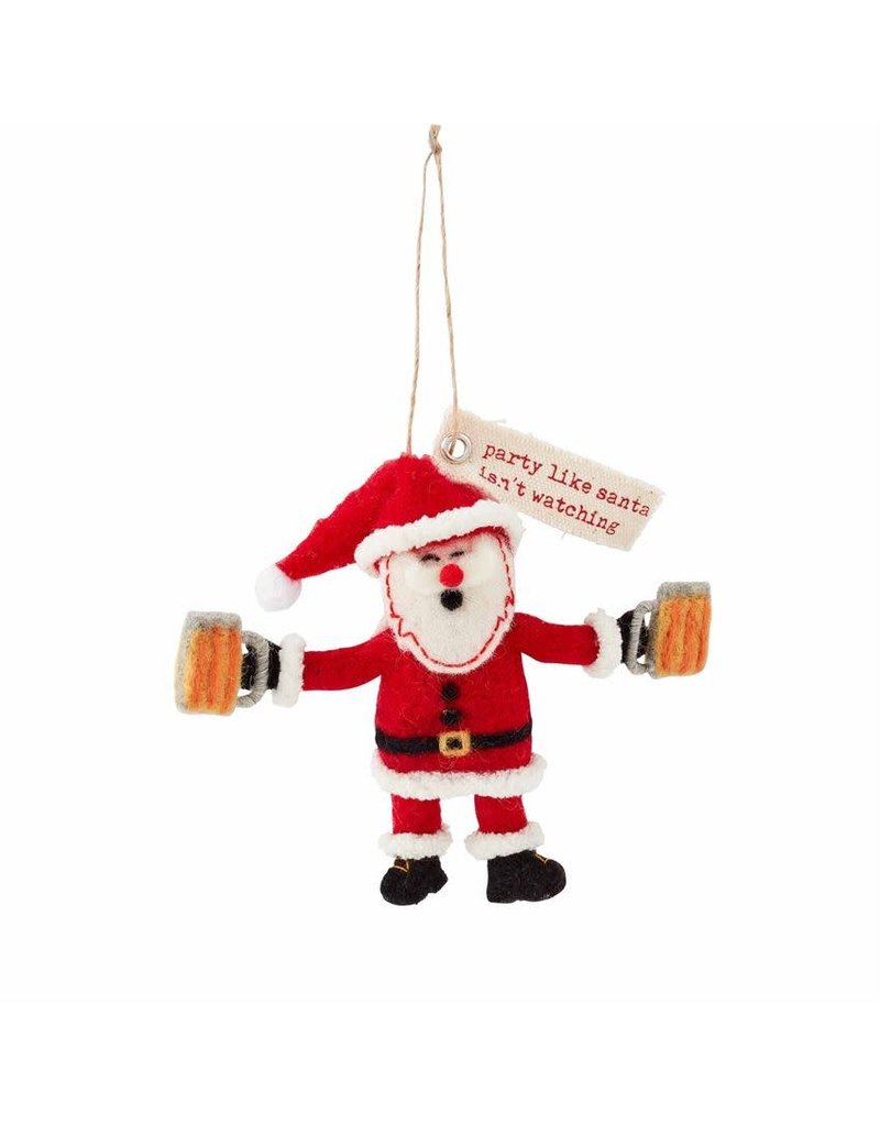Holiday Drinking Ornament Santa