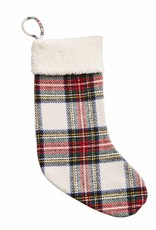 Holiday Sherpa Tartan Stocking White
