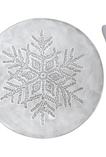 Dotty Snowflake Cermic Canape Plate w Beaded Spreader