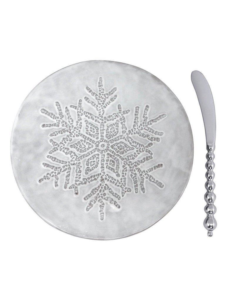 Mariposa Dotty Snowflake Cermic Canape Plate w Beaded Spreader