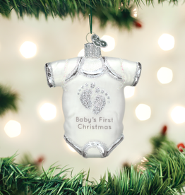 Old World Christmas Ornament Baby Onesie White