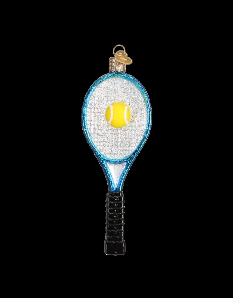 Old World Christmas Ornament Tennis Racquet Blue