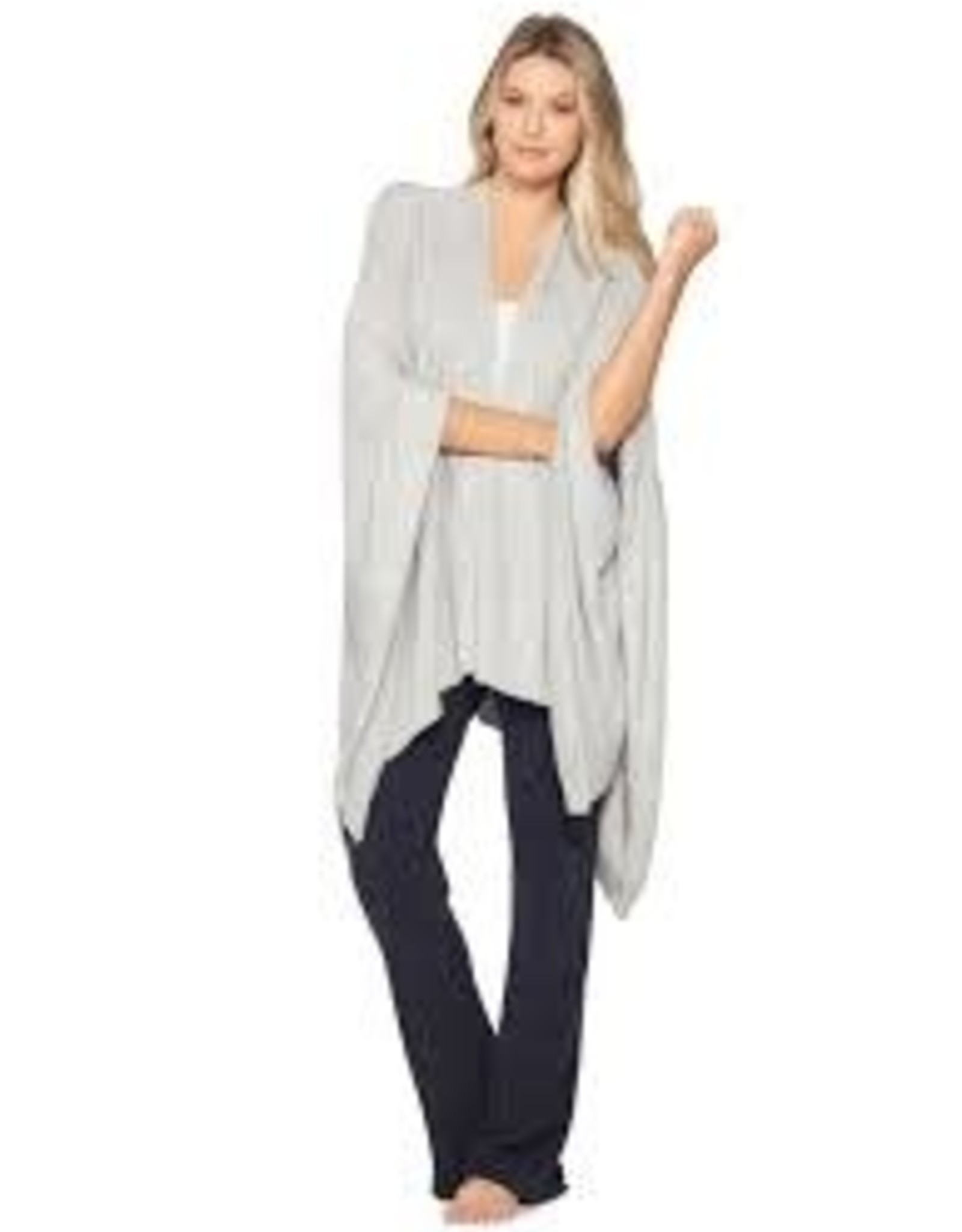 Barefoot Dreams Barefoot Dreams Cozy Chic light Heathered Weekend Wrap Pewter-Pearl