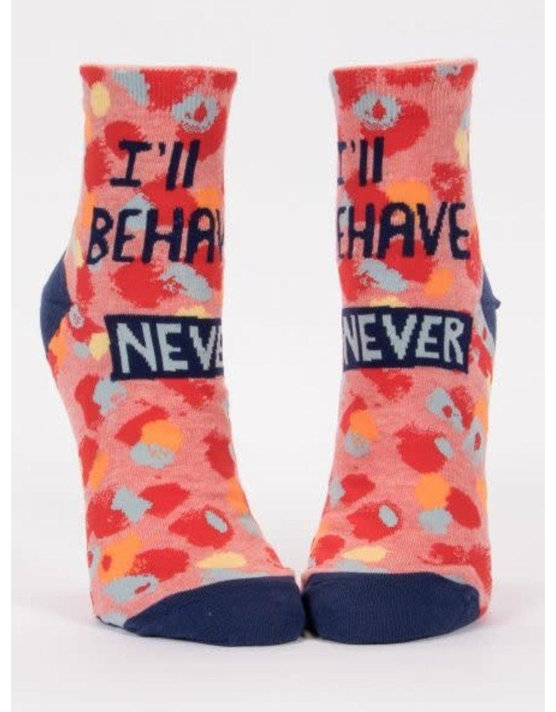 Blue Q Blue Q Women's Ankle Socks I'll Behave Never