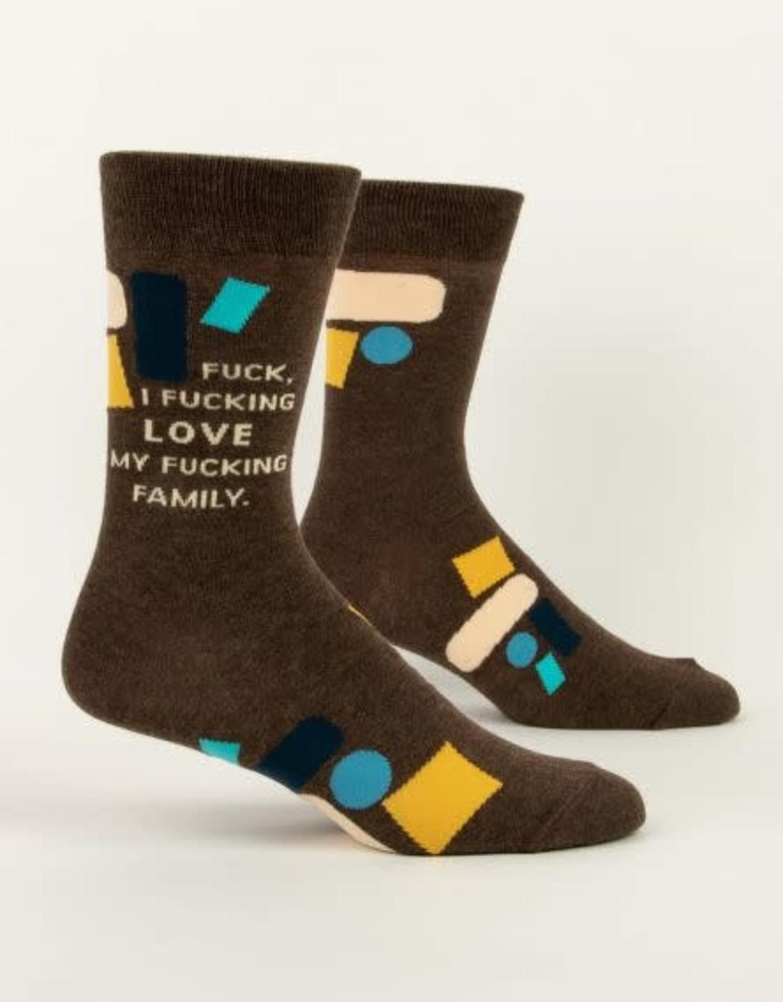 Blue Q Blue Q Men's Crew Socks F I Love My Fam