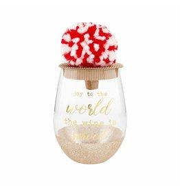 Mud Pie Holiday Glitter Wine Glass Joy Gold