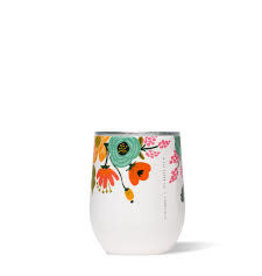 Corkcicle Stemless Wine Glass- 12oz Rifle Paper Cream Lively Floral