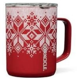 Corkcicle Mug- 16oz Fairisle Red