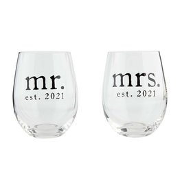 Mud Pie Mr. and Mrs. 2021 Wine Glass Set