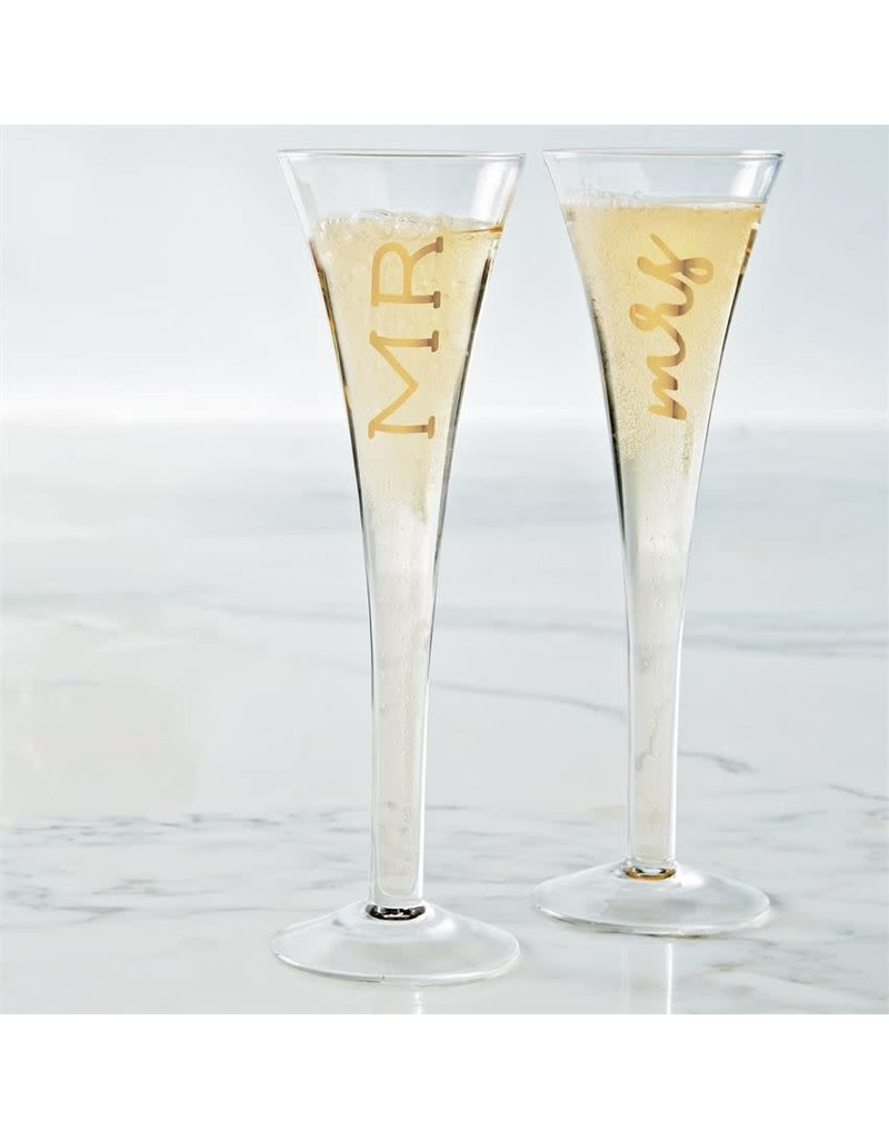 Mud Pie Mr. and Mrs. Champagne Glasses