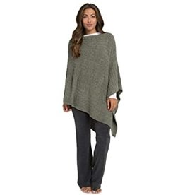 Barefoot Dreams Barefoot Dreams Cozychic Light Cable Poncho Carbon Olive Loden