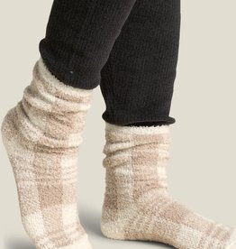 Barefoot Dreams Barefoot Dreams Cozychic Women's Plaid Socks Cream Tan