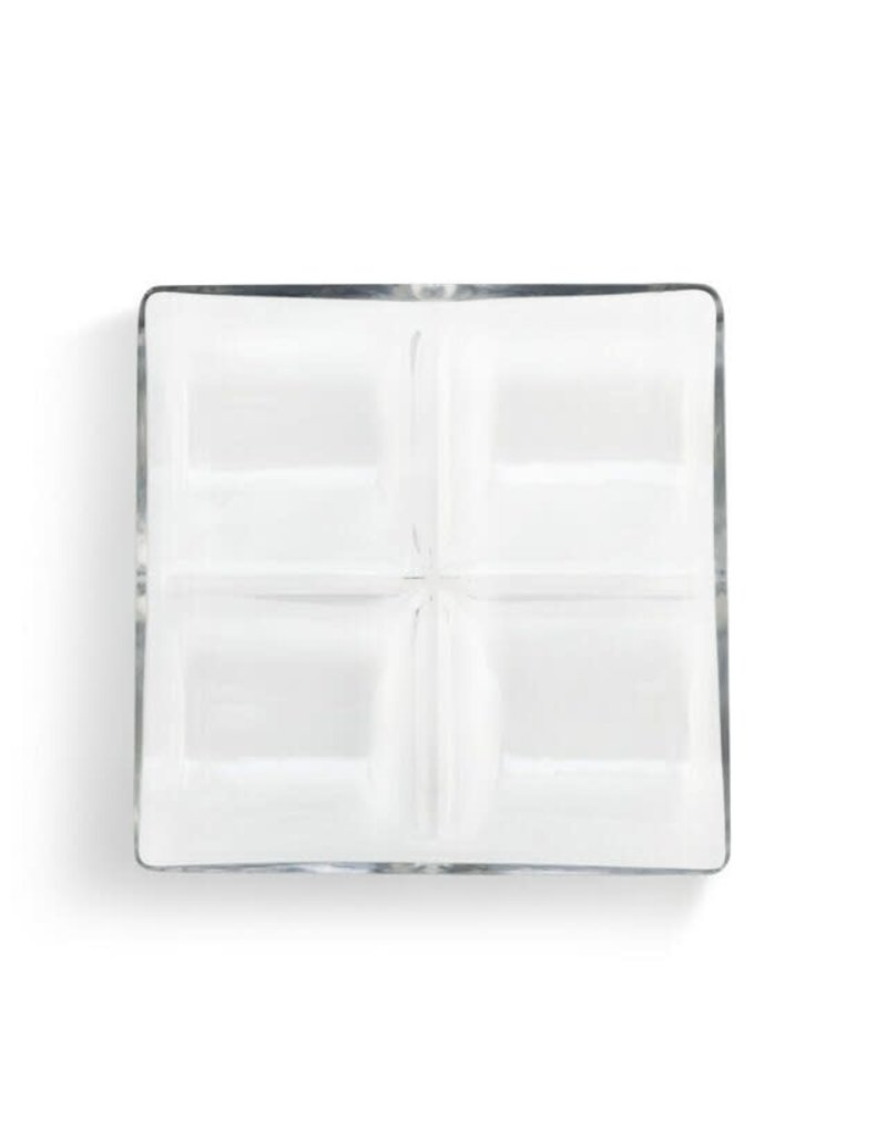 Demdaco Glass 4 Section Divided Serving Dish