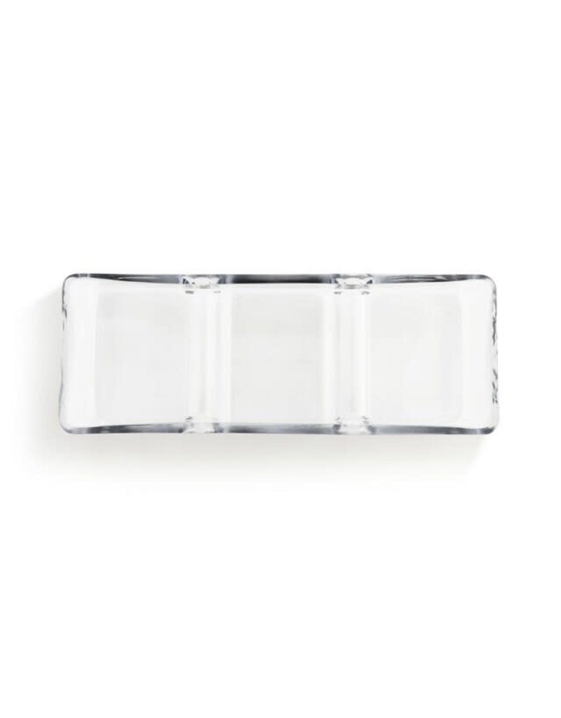 Demdaco Glass 3 Section Divided Serving Dish